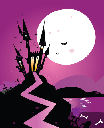 cartoon halloween: Haunted scary castle. Old Scary castle. Illustration.