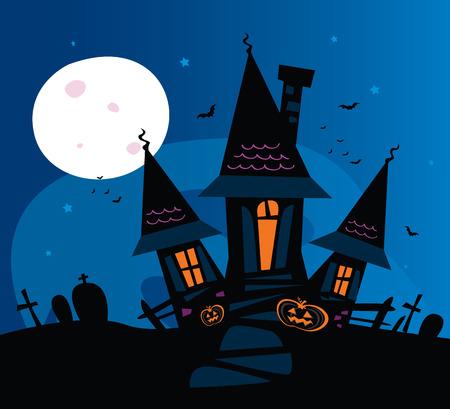 horror castle: Casa embrujada miedo. Antigua residencia de miedo. Ilustraci�n.
