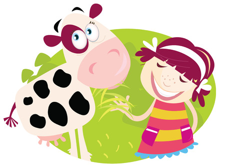 Farm girl with small cow. Small child is feeding cute calf. Illustration.