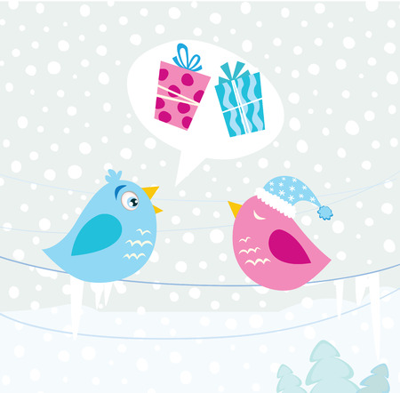 Christmas birds. Birds with christmas present. Illustration. Vector