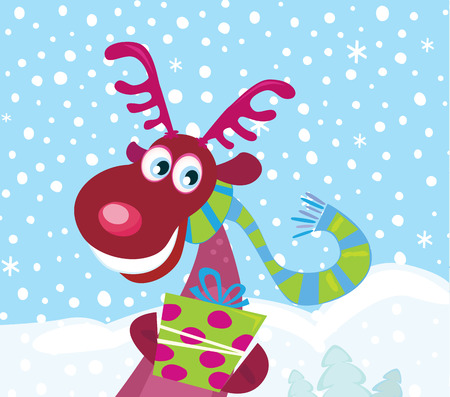 santaclause: Red-nosed Rudolph on snow. Cute Rudolph with christmas present. Illustration.