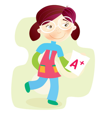 to score: School Girl with test result. Happy cartoon girl with exam report. Illustration.