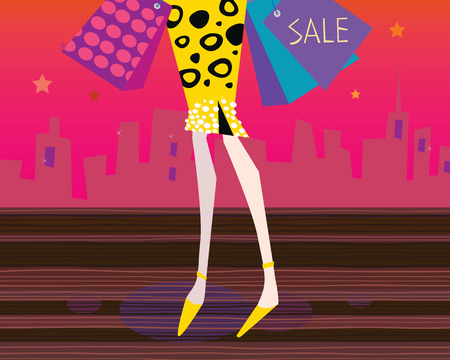 Long legs woman is shopping. Shopping woman in the city. Lifestyle fashion illustration. Vector