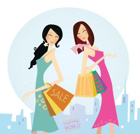 Shopping womans in the city. Shopping womans in town isolated on white. Vector Illustration.