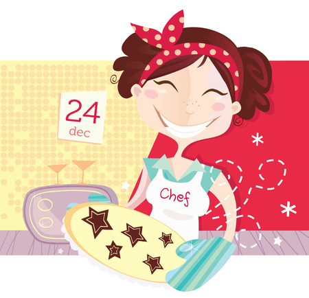Woman is making christmas cookies. Eve is baking christmas cookies. Lifestyle vector Illustration. Vector