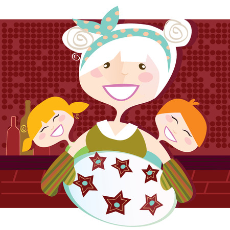 cookies: Grandmother with sweet cookies. Grandmother with perfect cookies. Vector Illustration in vintage style.