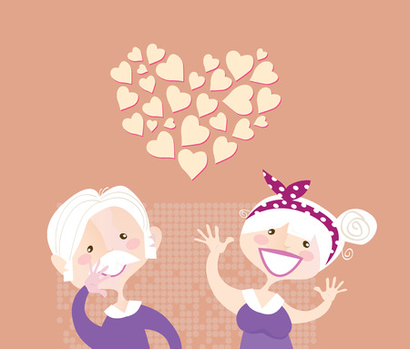 Grandparents ethernal love. Grandmother and grandfather in love. Vector vintage illustration. Vector