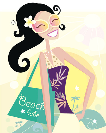 Hot beach chic. Beautiful diva with shopping bag on the beach. Vector Illustration. Vector
