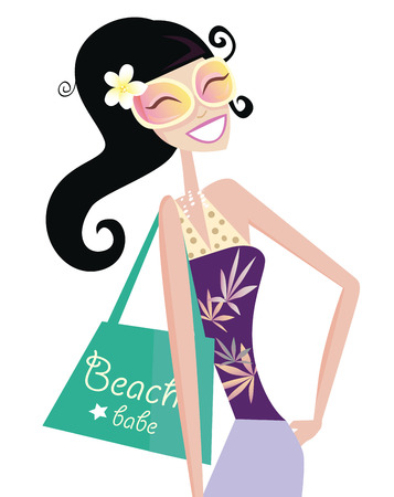 Hot plage chic. Sexy babe plage avec sac shopping. Vector illustration.