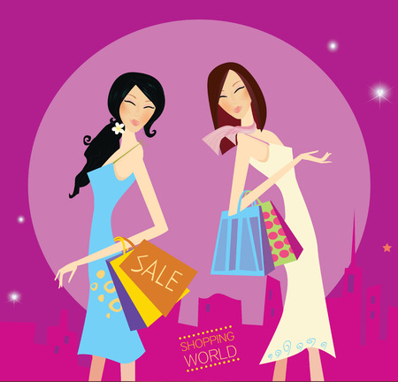 fashion vector: Shopping duo. Shopping girls in the city. Lifestyle fashion illustration. Vector format. Illustration