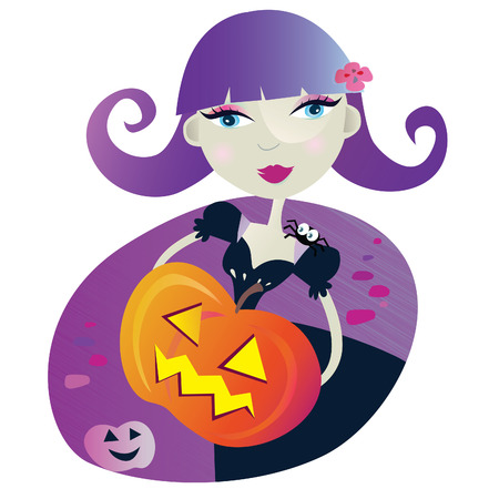 Halloween witch girl II. Halloween witch girl with pumpkin head. Vector Illustration. Vector