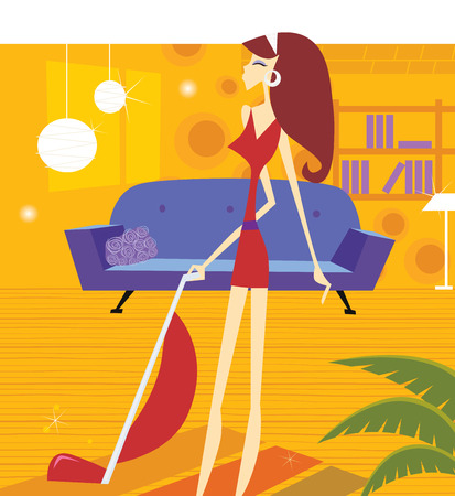 Busy house keeping woman. Sexy woman is cleaning household with vacuum cleaner. Lifestyle vector illustration in retro style.