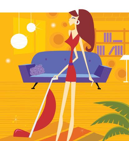 obrero caricatura: Mujer de mantenimiento de la casa ocupada. Mujer sexy es limpieza hogar con aspiradoras. Ilustraci�n vectorial de estilo de vida en estilo retro.