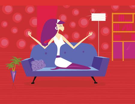 gym room: Meditaci�n ? mujer es relajante en sof�. Mujer es pasar tiempo con meditaci�n c�modo en el sof�. Ilustraci�n vectorial de estilo de vida en estilo retro.