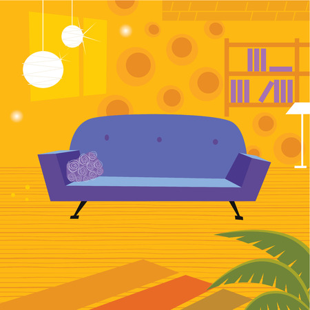 lounge: Retro living room in retro style. Old retro styled interior with sofa and bookcase. Vector Illustration