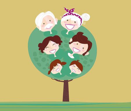 damas antiguas: �rbol de la gran familia de generaci�n. �rbol de la relaci�n familiar, abuela, abuelo, madre, padre y para ni�os. Ilustraci�n vectorial en estilo vintage.