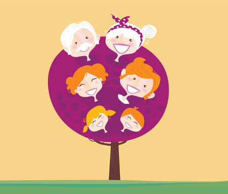 Big family generation tree. Family relationship tree Grandmother, grandfather, mother, father and childrens. Vector Illustration in vintage style. Vector