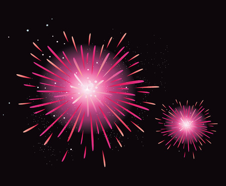 Fireworks display. New Year celebration. Stylized fireworks. Vector Illustration. Vector