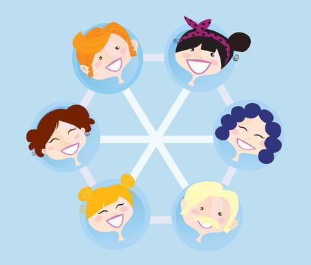social gathering: Network social group. Social network group illustration.