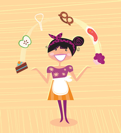 work task: Mother - kitchen super hero.  Illustration