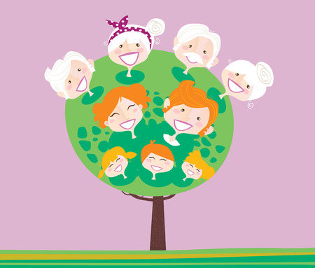 the descendant: Triple generation family tree. Family relationship tree.  Illustration