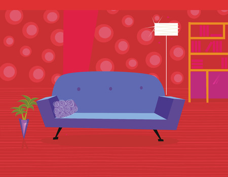Red living room in retro style. Livingroom with sofa and bookcase. Vector illustration in vintage style. Vector