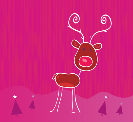 Doodle christmas reindeer Rudolph on snow. Red-nosed reindeer Rudolph. Vector cartoon illustration. Ilustracja