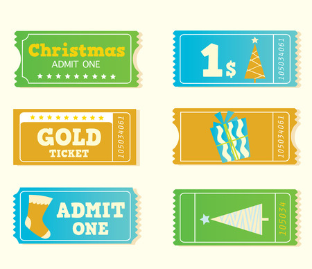 Blue and yellow retro cinema christmas tickets. Christmas shopping or entertainment? Use my tickets! Retro vector tickets in retro style. Vector