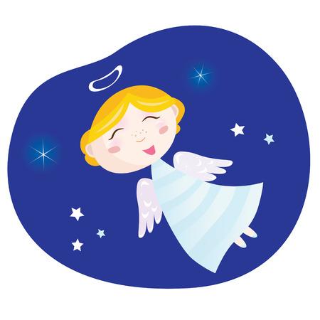 Christmas angel boy. Cute christmas angel  symbol of love and christianity. Illustration. Vector