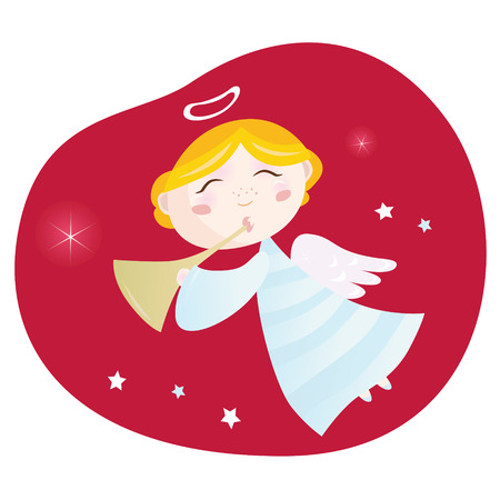 Christmas angel boy with trumpet. Cute christmas angel with trumpet on dark red background – symbol of love and christianity. Vector Illustration. Vector