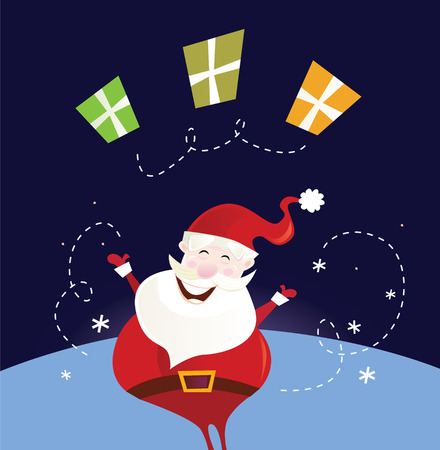 klaus: Santa claus with christmas presents. Cute christmas Santa in red costume. Vector Illustration. Illustration