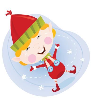helpers: Elfo de Navidad de Santa en traje rojo. Cute elfo de Navidad en rojo. Caricatura de vector de ilustraci�n.