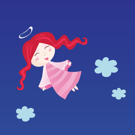 innocence: Little child in angel costume. Small christmas angel  - symbol of love and innocence. Vector Illustration.