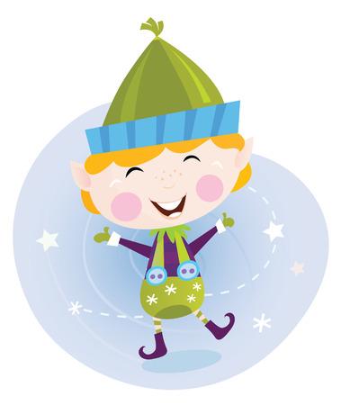 helpers: Santa Navidad elfo. Cute elfo de Navidad en traje verde. Caricatura de vector de ilustraci�n.