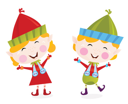 helpers: Christmas boy and girl elves. Cute small elves in christmas costumes. Vector cartoon illustration.
