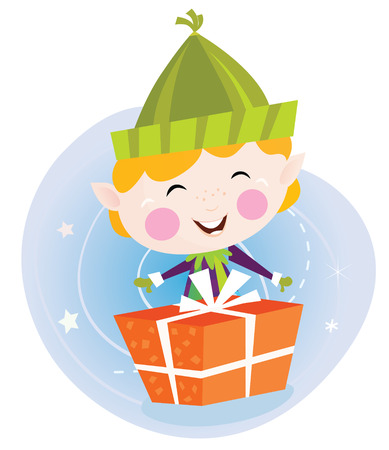 children story: Small christmas elf with present. Cute christmas elf with christmas present. Vector cartoon illustration. Illustration