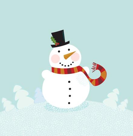 Christmas winter snowman. Cute snowman in christmas snowy nature. Vector cartoon illustration.