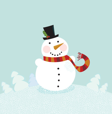 Christmas winter snowman. Cute snowman in christmas snowy nature. Vector cartoon illustration. Vector