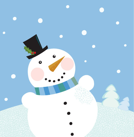snowing: Christmas winter snowman background. Cute snowman in christmas snowy nature. Vector cartoon illustration. Illustration