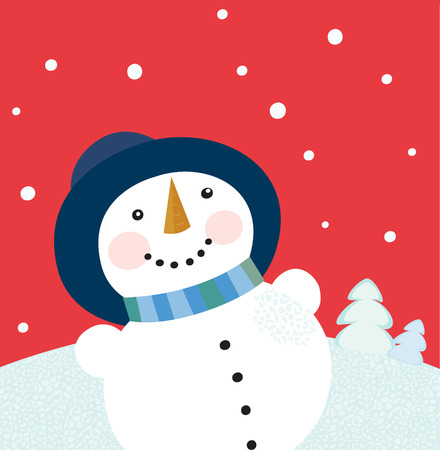 Christmas holiday background with snowman. Cute snowman on red background. Vector cartoon illustration. Vector