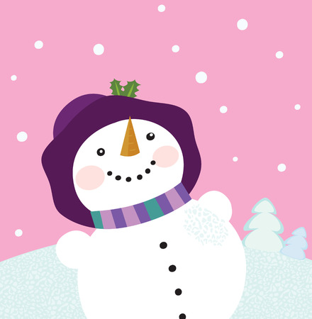 snowing: Its snowing - Winter snowman lady. Winter romance. Christmas snowy lady on pink background. Vector cartoon illustration.