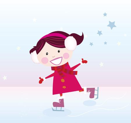 Chica de patinaje de hielo. Niña pequeña con una gran sonrisa en hielo. Ilustración de dibujos animados de vector.