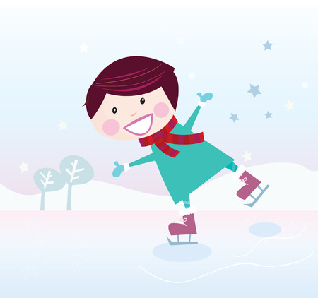 Ice skating boy. Small boy with big smile on frozen ice lake. Vector cartoon illustration. Vector