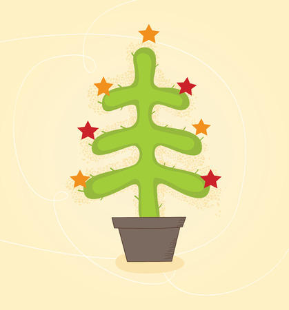 Christmas cactus tree. Retro christmas cactus tree design. Vector illustration. Vector