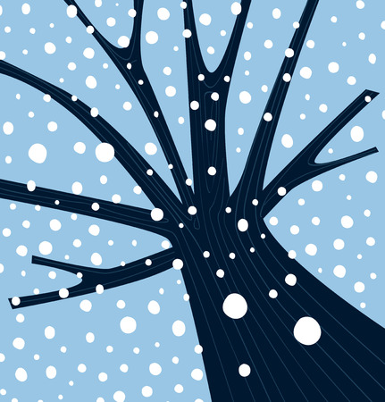 forrest: Winter tree with falling snow. Tree with winter weather atmosphere. Vector Illustration. Illustration