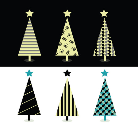 Black & white christmas tree design. Retro christmas trees on white and black background. Vector Illustration. Vector