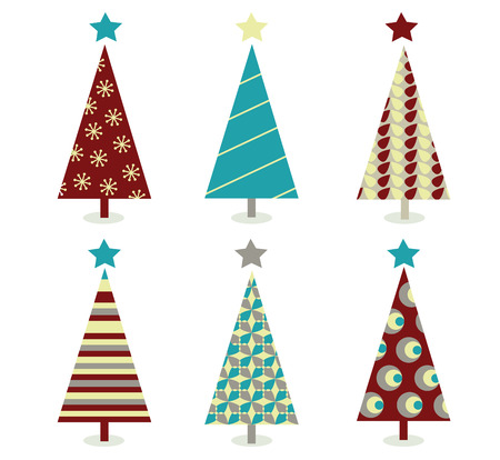 Blue � red christmas tree icon set. Retro christmas trees isolated on white. Vector Illustration. Stock Vector - 6048017
