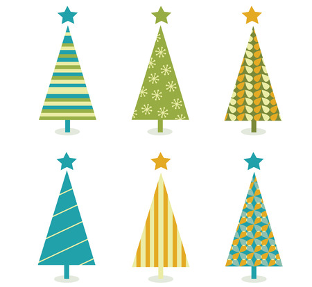 minimal style: Funky retro christmas tree design. In six shape variants! Vector illustration.