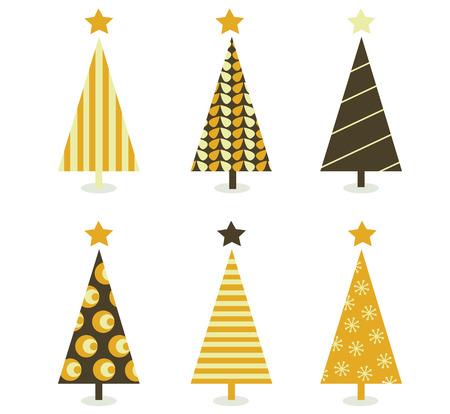 Retro christmas tree isolated on white. Six retro christmas trees on white background. Vector illustration.