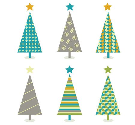 Retro christmas trees icon set. Retro christmas trees in retro design. Vector illustration. Vector